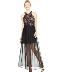Morgan Juniors' Sequin Lace Illusion Skirt Gown