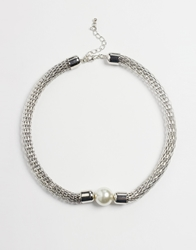 Paper Dolls Faux Pearl Mesh Necklace Silver