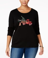 Karen Scott Plus Size Holiday Truck Graphic Top Only At Macy's Deep Black