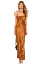 Mes Demoiselles Alicante Deep Satin Dress Metallic Bronze
