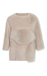 Carolina Herrera Boxy Short Sleeved Fur Top Nude