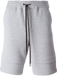 Public School Double Hem Track Shorts Grey