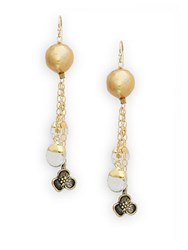Alanna Bess 13Mm Gold Potato Pearl And Crystal Drop Earrings