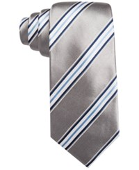 Countess Mara Men's Striped Classic Tie Silver
