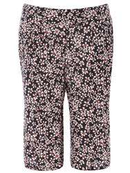 Evans Plus Size Daisy Printed Crinkle Culottes Blue