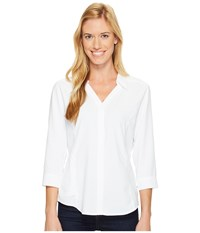 Royal Robbins Expedition Chill Stretch 3 4 Sleeve Top White Women's Long Sleeve Button Up