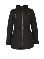 Izabel London Faux Fur Collar Padded Coat Black