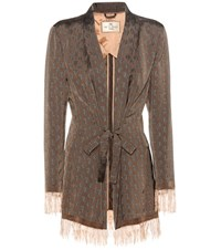 Etro Jacquard Jacket Brown