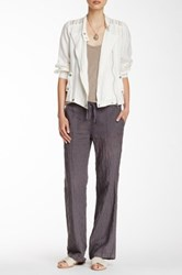 Johnny Was Embroidered Linen Soft Pant Gray