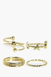 Boohoo Star And Textured Ring Pack Gold