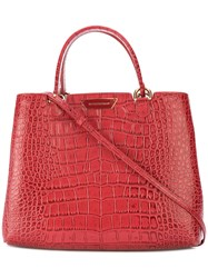 Emporio Armani Crocodile Embossed Tote Women Leather One Size Red