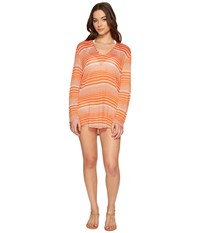 Splendid Sun Sational Solids Hoodie Tunic Cover Up Tiger Lily Women's Swimwear Multi