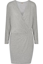 Haute Hippie Wrap Effect Modal Mini Dress Gray