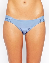Asos Ruched Side Hipster Bikini Pant Blue