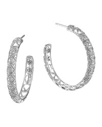 Naga Silver Diamond Pave Hoop Earrings John Hardy