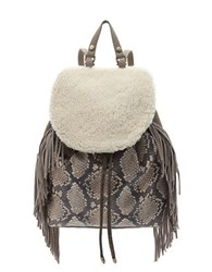 Sam Edelman Fifi Fringe Snake Embossed Leather And Sherpa Backpack Natural Python