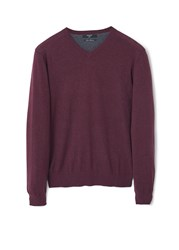 Mango Ten Cotton Cashmere Blend Sweater Dark Red