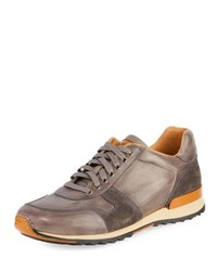 Magnanni Retro Leather Running Sneaker Gray