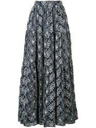 Long Floral Skirt Women Cotton M Blue