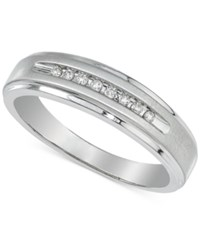 Macy's Men's Diamond Band 1 10 Ct. T.W. In 10K White Gold