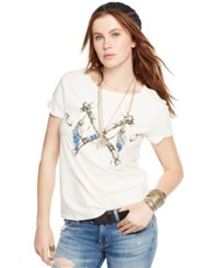 Denim And Supply Ralph Lauren Dream Catcher Draped Tee Antique Cream Crossed Hatchets