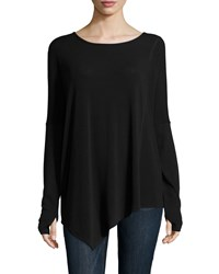 Neiman Marcus Active Long Sleeve Asymmetric Boat Neck Tee Black