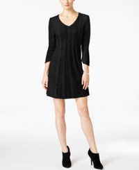 Ny Collection Petite Cable Knit Sweater Dress Black