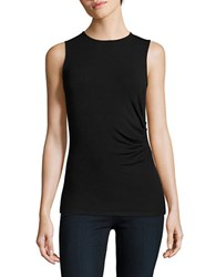 Lord And Taylor Petite Solid Cinched Tank Top Black