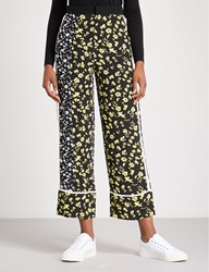 Moandco. Cropped High Rise Floral Print Crepe Trousers Black Pattern