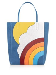 Anya Hindmarch Silver Cloud Ebury Suede Tote Blue Multi
