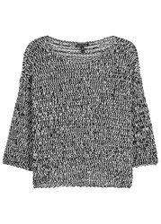 Eileen Fisher Monochrome Open Knit Cotton Blend Jumper Black And White