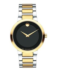 Movado 39.2Mm Modern Classic Watch Silver Yellow Gold Black Gray Black
