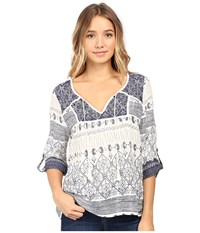 Roxy Lucky Blue Top Deep Ocean Pristine Women's Blouse White