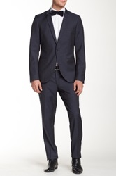 Tiger Of Sweden Blue One Button Peak Lapel Wool Suit
