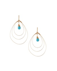 Rafia 3 Hoop Teardrop Earrings W Turquoise Center Golden