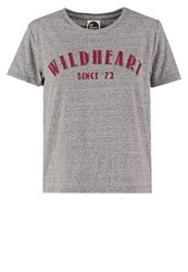 All About Eve Wildheart Print Tshirt Mid Charcoal Marle Mottled Grey