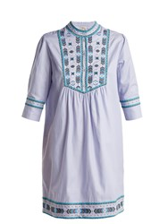 Talitha Willow Embroidered Cotton Dress Light Blue