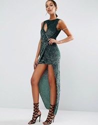 Asos Night Sequin Maxi Playsuit With Side Drape Grey Teal Multi