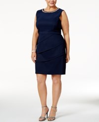 Connected Plus Size Embellished Dress Navy