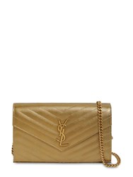 Saint Laurent Small Quilted Metallic Leather Bag Gold