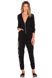 Lauren Moshi Indy Tribal Peace Long Sleeve Zip Up Jumpsuit Black