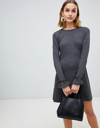 Vero Moda Fluted Sleeve Shift Dress Dark Grey