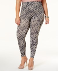 Spanx Women's Cropped Printed Seamless Plus Leggings Grey Watercolor