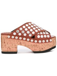 Mcq By Alexander Mcqueen 'Paloma' Studded Clogs Women Cork Leather Metal Rubber 41 Brown