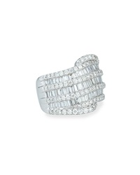 18K White Gold Round And Baguette Diamond Ring Bessa