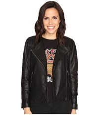Lucky Brand Collarless Leather Jacket Black Women's Coat Multi