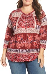 Lucky Brand Plus Size Women's Mixed Print Knit Top Red Multi