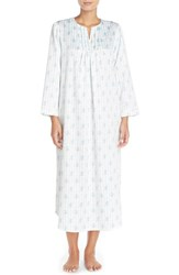 Petite Women's Carole Hochman Designs Satin Long Nightgown Ribbon Stripe Blue Ivory