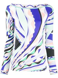Emilio Pucci Burle Print Long Sleeved Top Blue