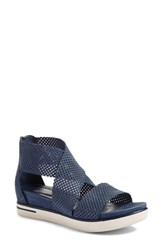 Eileen Fisher Women's Sport Platform Sandal Denim Perforated Suede